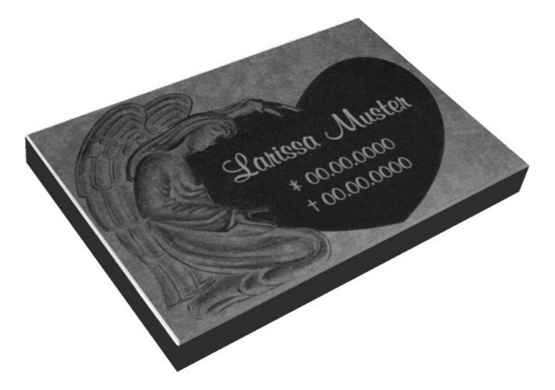 Vorschau Grabmal aus massivem Granit mit sehr schöner Engelgravur