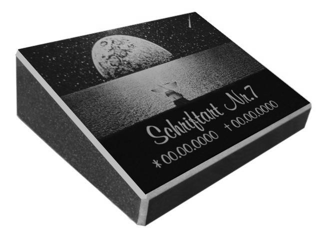 Vorschau Pultgrabstein aus Granit mit Motiv Reise zu den Sternen