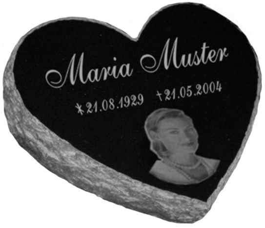 Vorschau Herzgrabstein aus massiven Granit mit Bildgravur