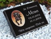 Vorschau Tiergrabstein aus poliertem Granit mit Porzellanbild